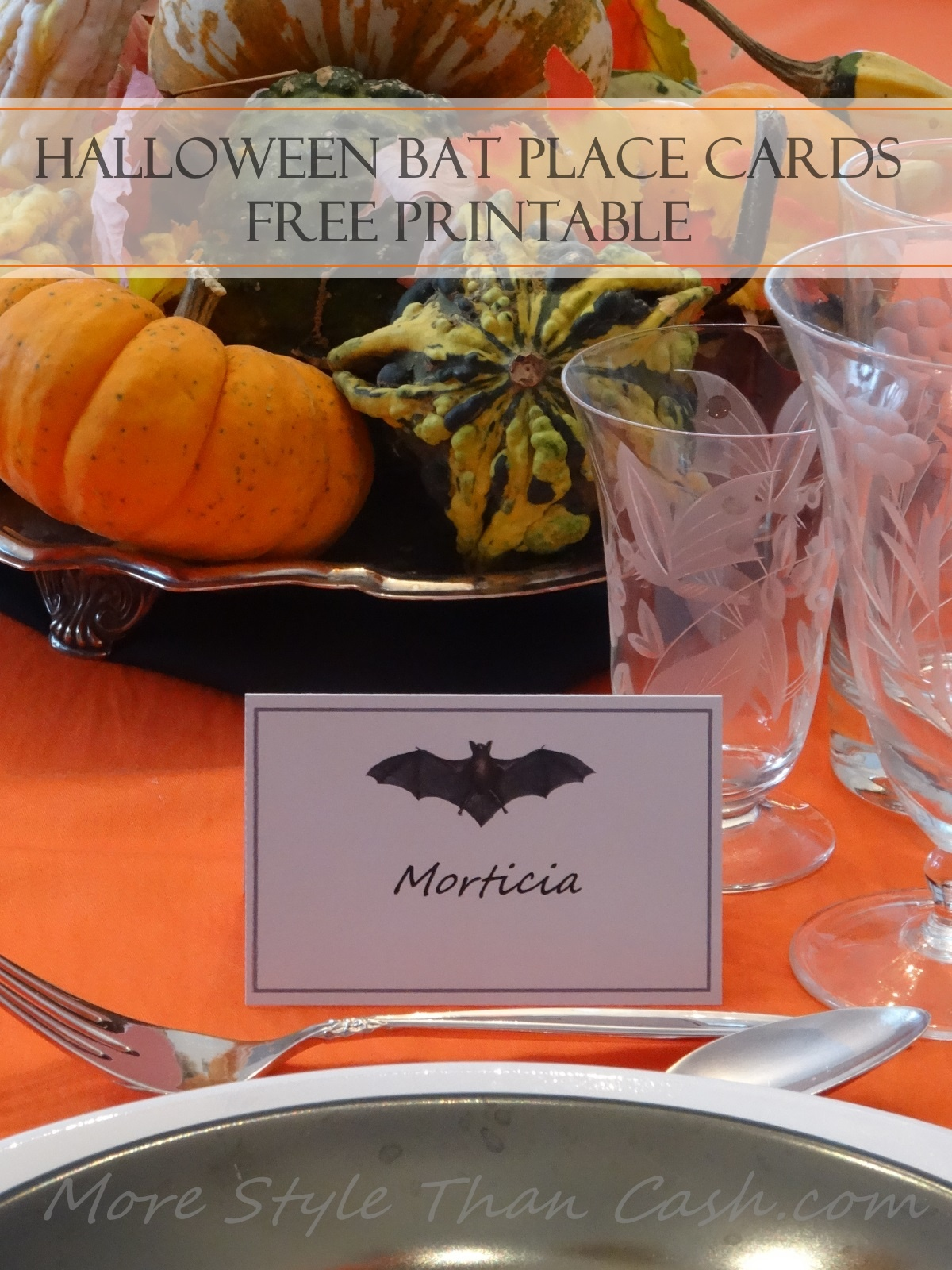 Halloween Bat Place Cards - Free Printable Halloween Place Cards