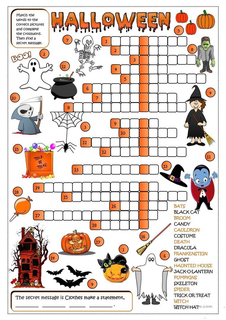 Halloween - Crossword Worksheet - Free Esl Printable Worksheets Made - Free Printable French Halloween Worksheets