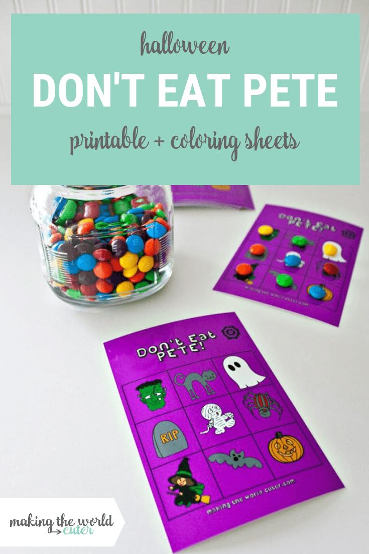 Halloween Don't Eat Pete Free Printable Both In Color And Coloring Sheet - Don T Eat Pete Free Printable
