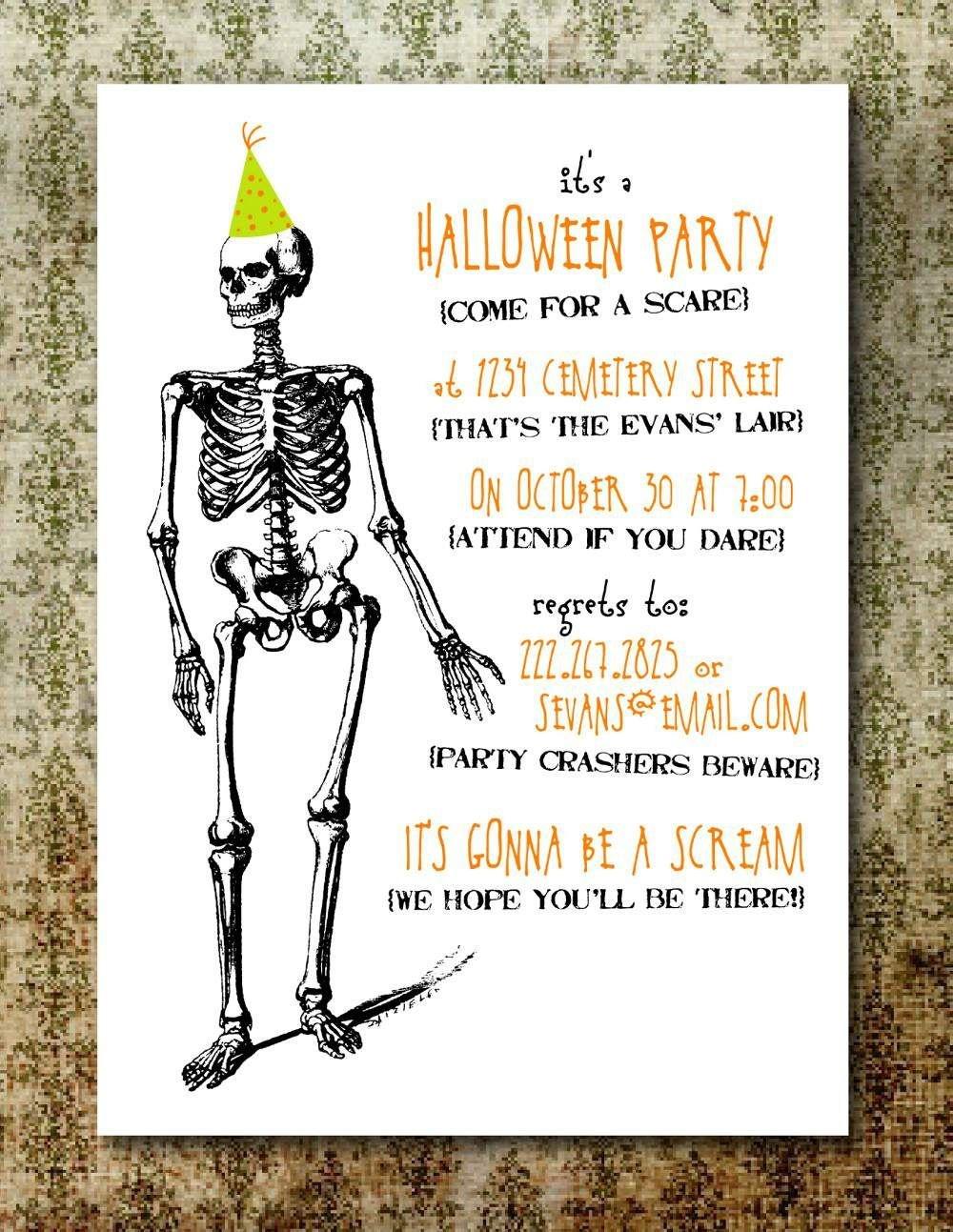 Halloween Party Invitations Free Printable …   Creepy In 2019… - Free Halloween Birthday Invitation Templates Printable