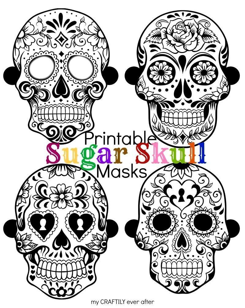 Halloween: Printable Sugar Skull Masks | Halloween | Printable - Free Printable Sugar Skull Day Of The Dead Mask