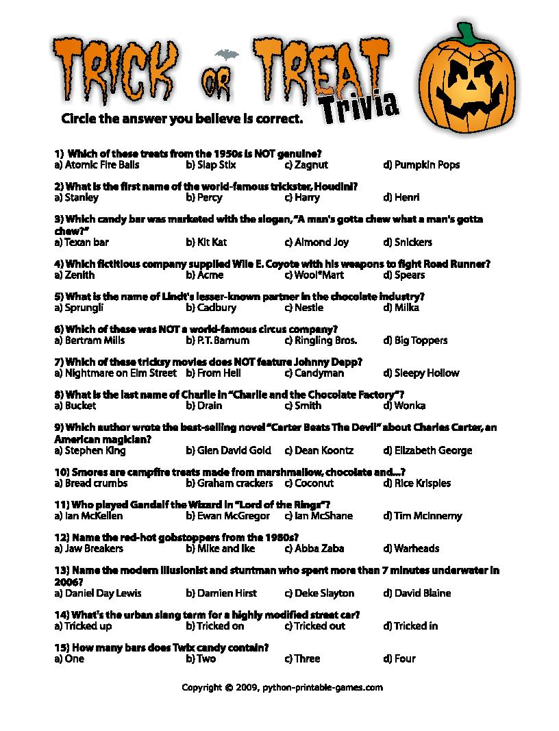 Halloween Printables: 2010 - Free Printable Halloween Quiz
