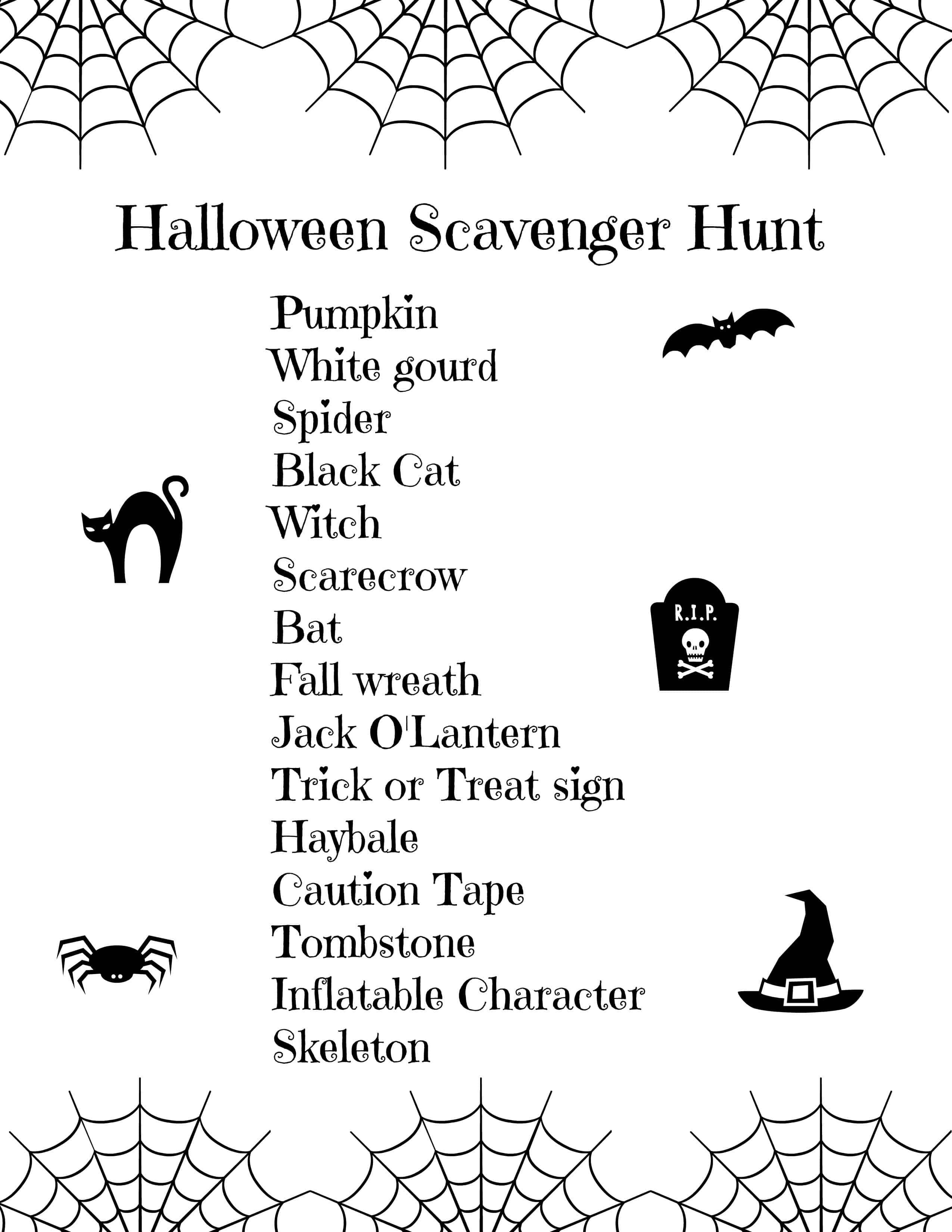 Halloween Scavenger Hunt For Kids (Free Printable) - Free Printable Halloween Scavenger Hunt