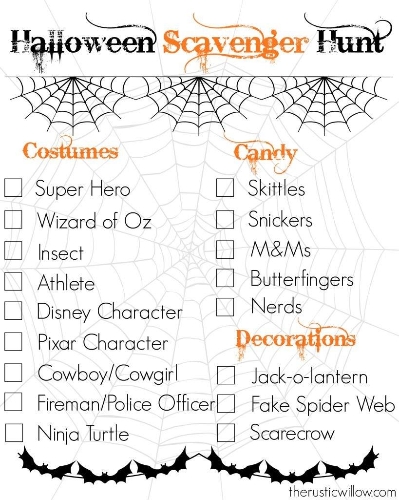 Halloween Scavenger Hunt--Free Printable | Therusticwillow - Free Printable Halloween Scavenger Hunt