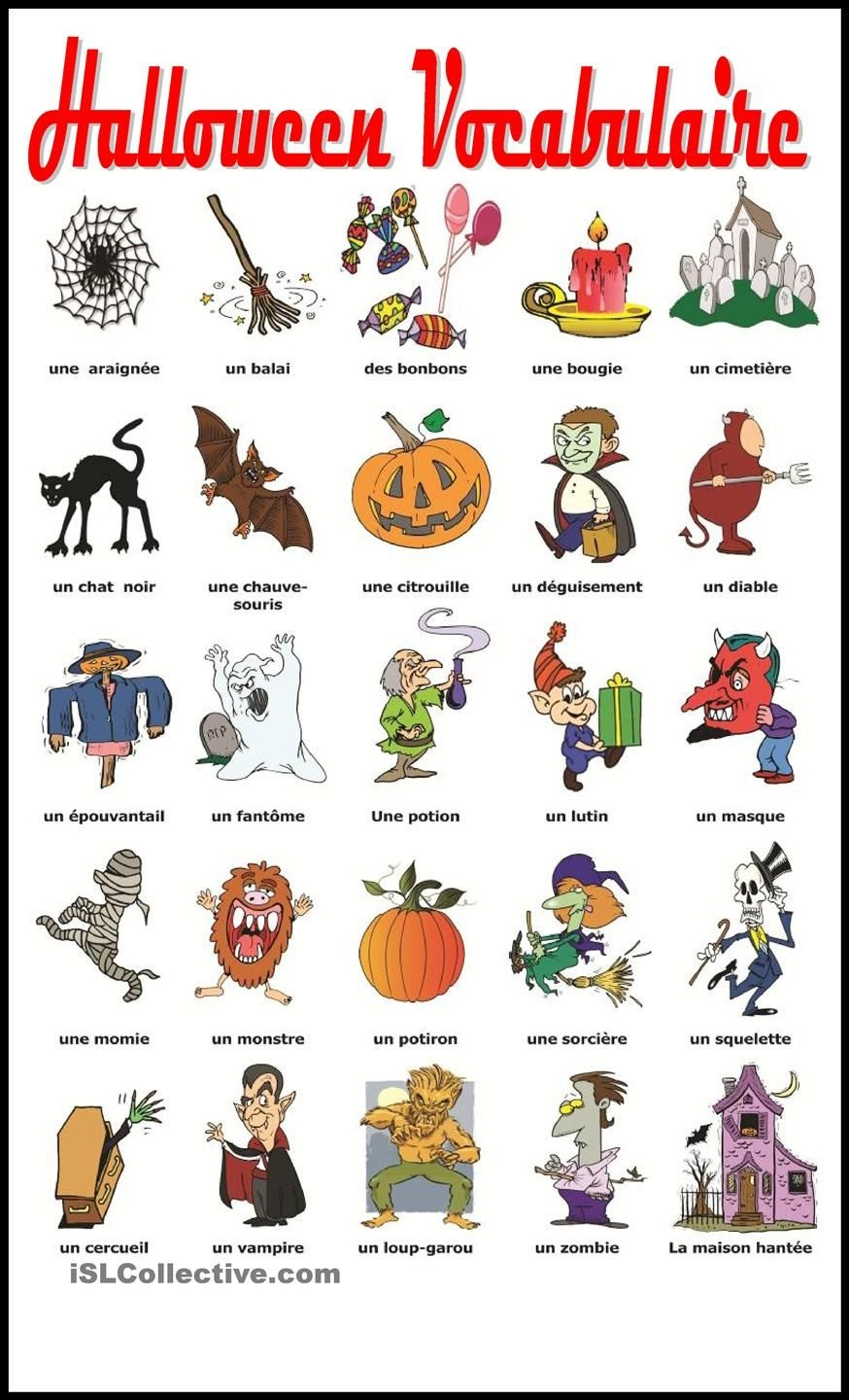 Halloween Vocabulaire | Education | Learn French, Halloween - Free Printable French Halloween Worksheets