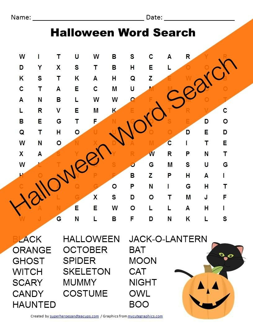 Halloween Word Search Free Printable | Happy Birthday Card - Free Printable Halloween Puzzles