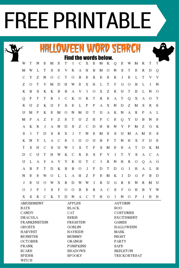 Halloween Word Search Printable Worksheet - Free Printable Word Finds