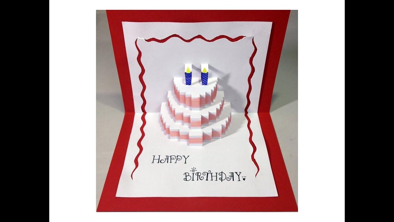 Happy Birthday Cake - Pop-Up Card Tutorial - Youtube - Free Printable Birthday Pop Up Card Templates