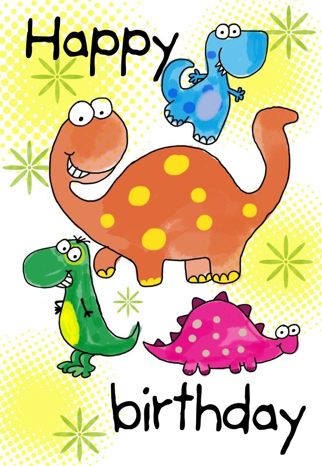 Happy Birthday Dinosaurs - Free Printable Birthday Card | Greetings - Free Printable Kids Birthday Cards Boys