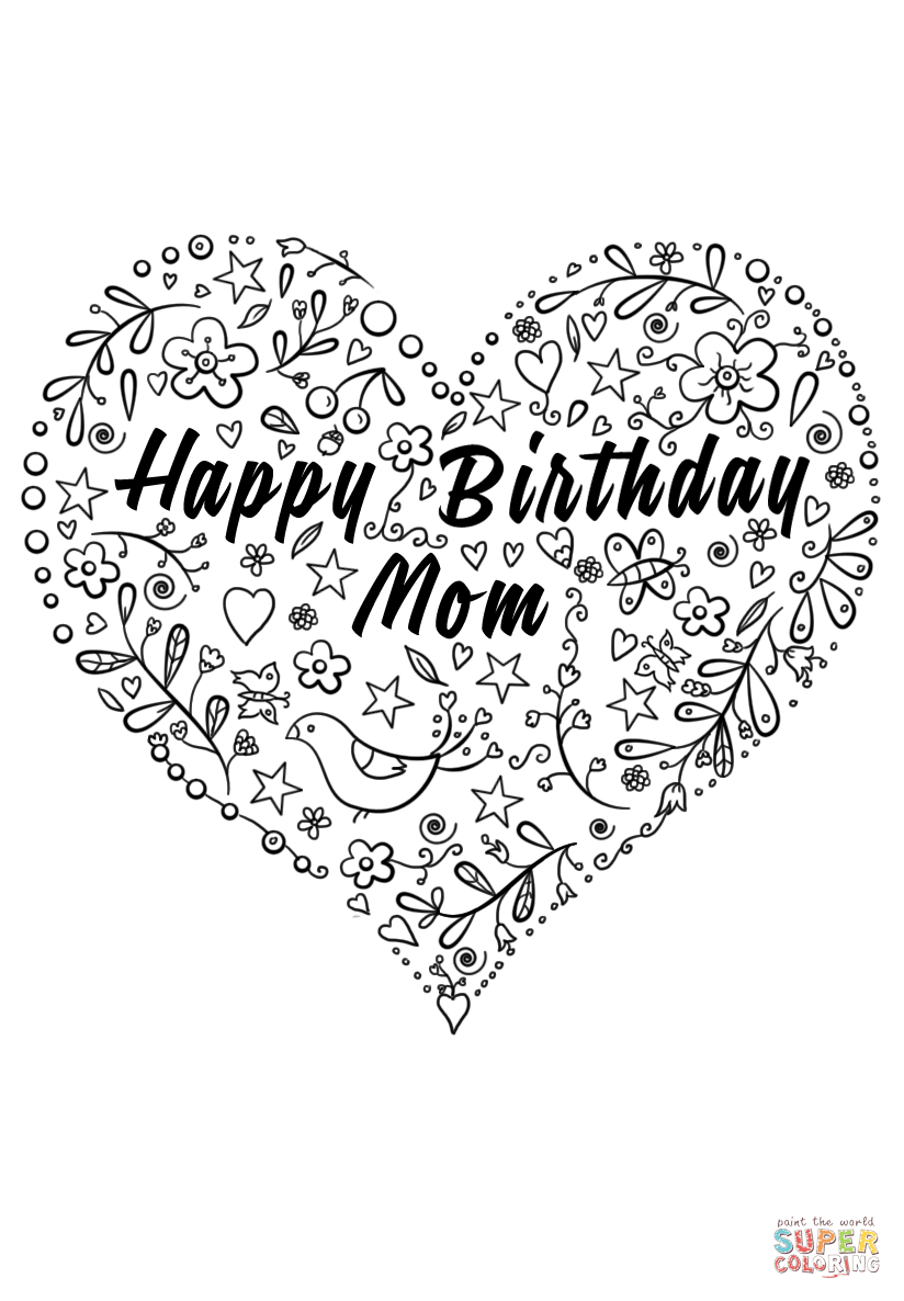 Happy Birthday Mom Coloring Page | Free Printable Coloring Pages - Free Printable Birthday Cards For Mom From Son