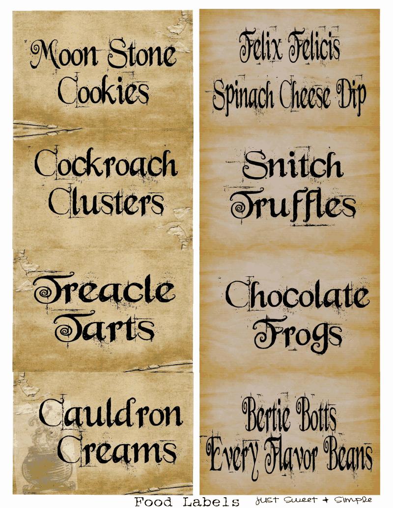 Harry Potter Food &drink Labels.pdf   Holidays   Harry Potter Candy - Free Harry Potter Printable Signs