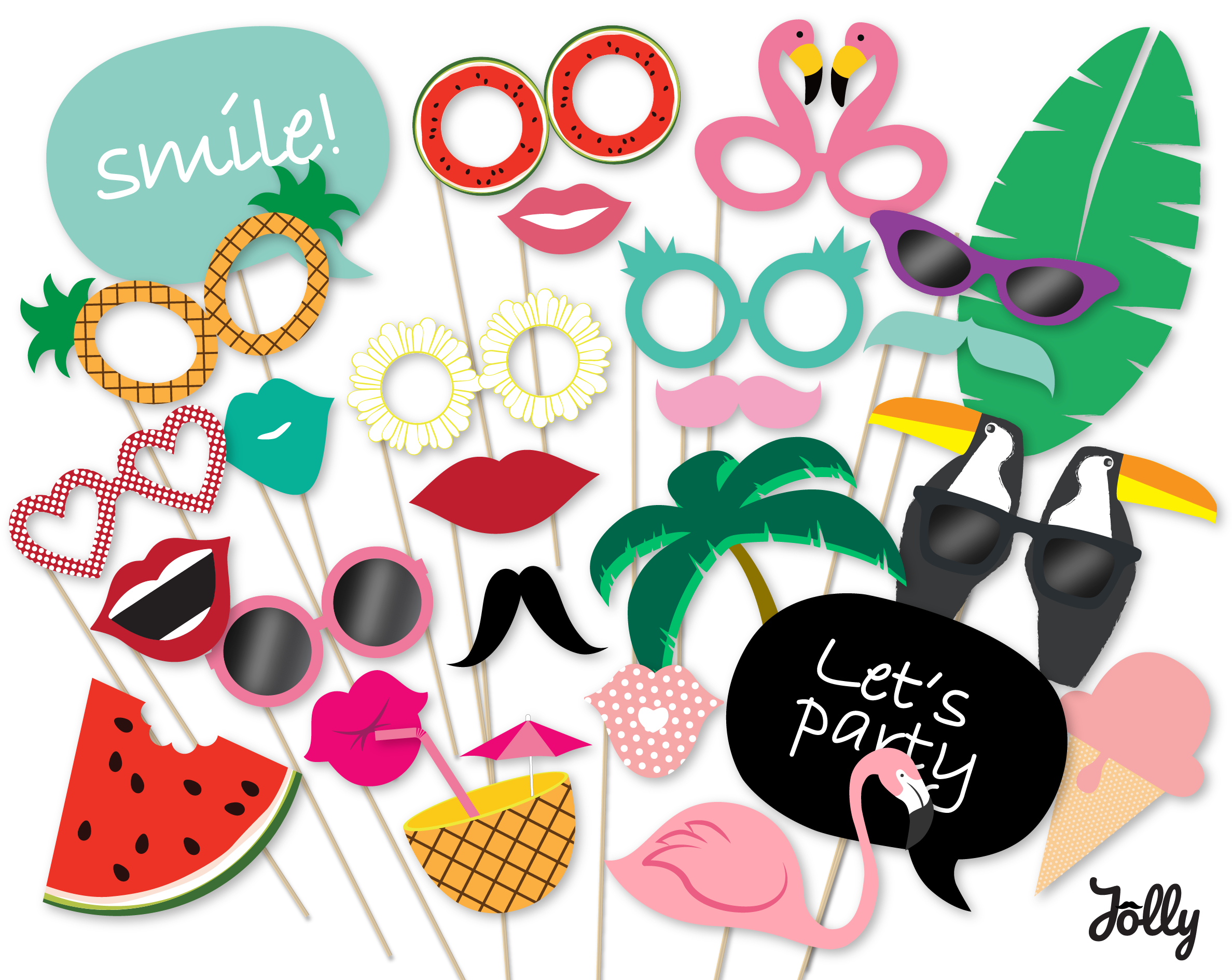 Hawaiian Party Photo Booth Props Summer Party Printables Instant - Hawaiian Photo Booth Props Printable Free