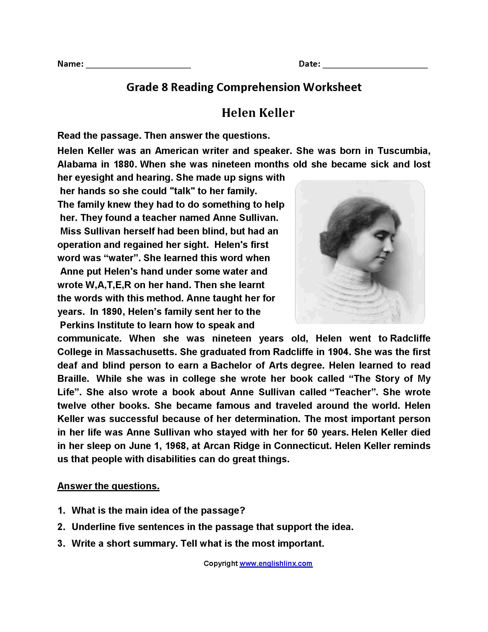 Helen Keller Eighth Grade Reading Worksheets   8Th Grade Reading Wks - Free Printable Pictures Of Helen Keller