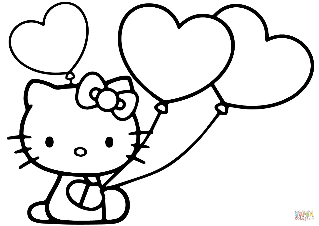 Hello Kitty Color Pages Hello Kitty With Heart Balloons Coloring - Free Printable Pictures Of Balloons