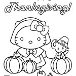 Hello Kitty Happy Thanksgiving Coloring Page | Free Printable   Free Printable Thanksgiving Coloring Pages