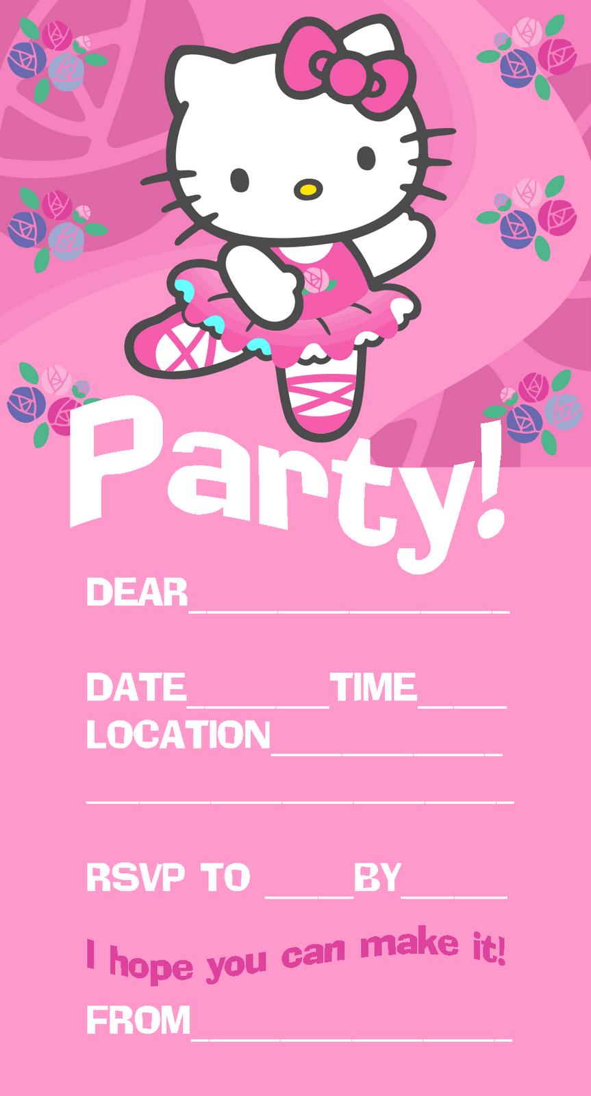 Hello Kitty Invitations | Pink Hello Kitty Ballet / Ballerina Party - Make Printable Party Invitations Online Free