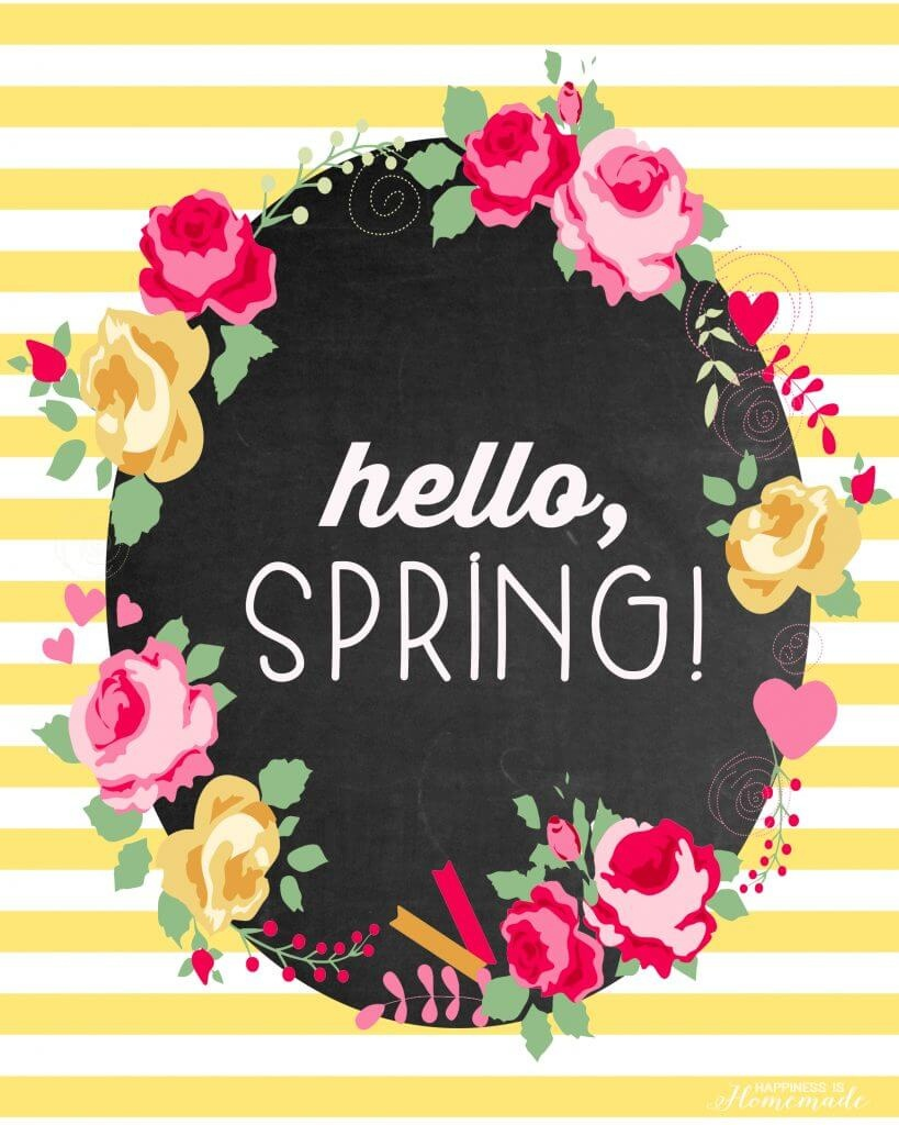 "Hello, Spring!"" Free Printable - Happiness Is Homemade - Free Printable Spring Decorations"