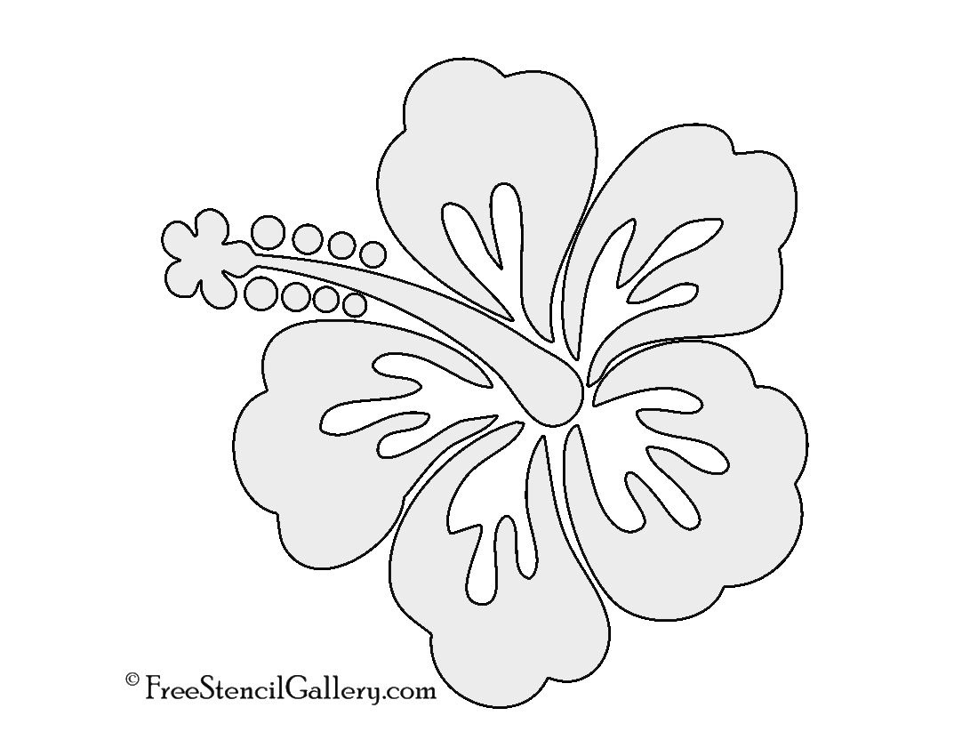 Hibiscus Flower Stencil   Free Stencil Gallery   Stencils   Hibiscus - Free Printable Stencils