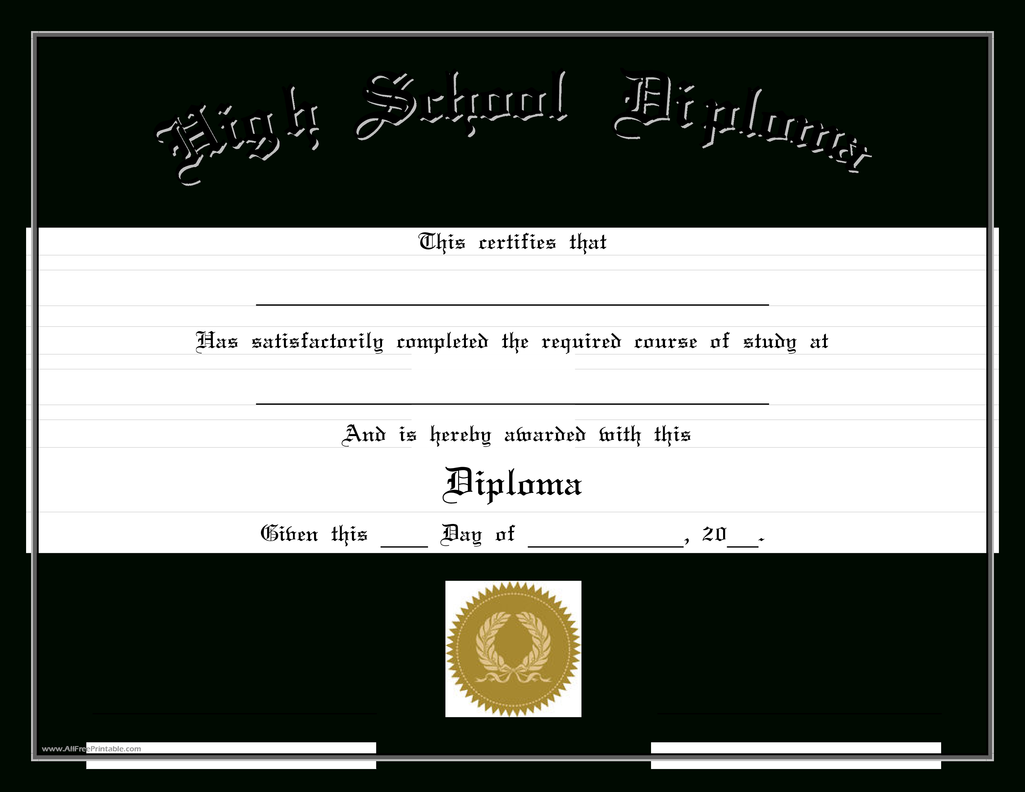 High School Diploma (Edit) - Cert-Highs-2.pdf. Easy To Download And - Free Printable High School Diploma Templates