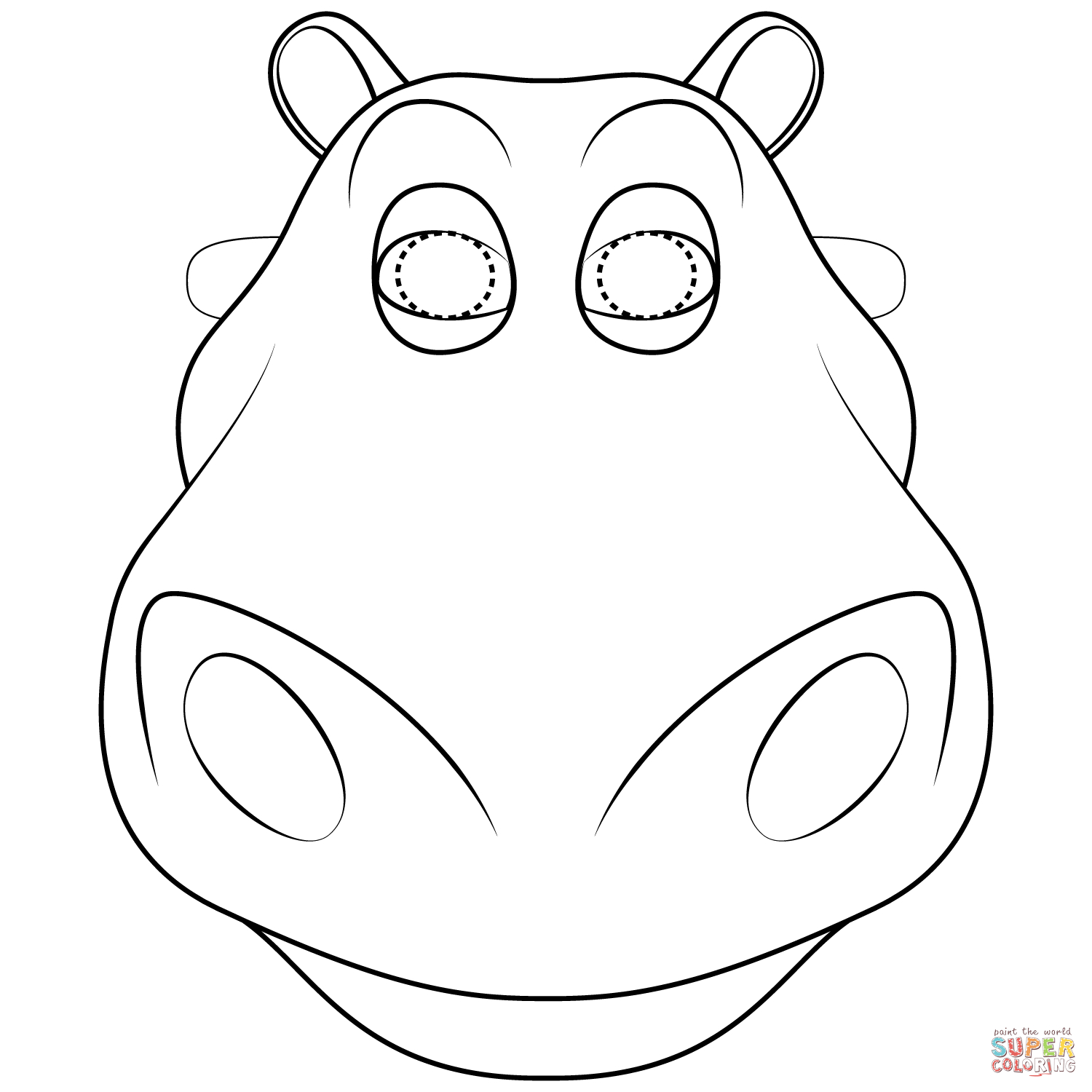 Hippo Mask Coloring Page | Free Printable Coloring Pages - Free Printable Hippo Mask