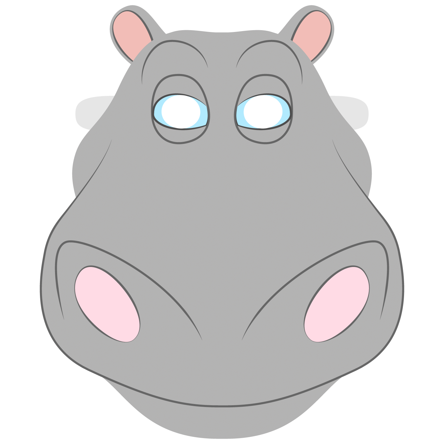 Hippo Mask Template | Free Printable Papercraft Templates - Free Printable Hippo Mask