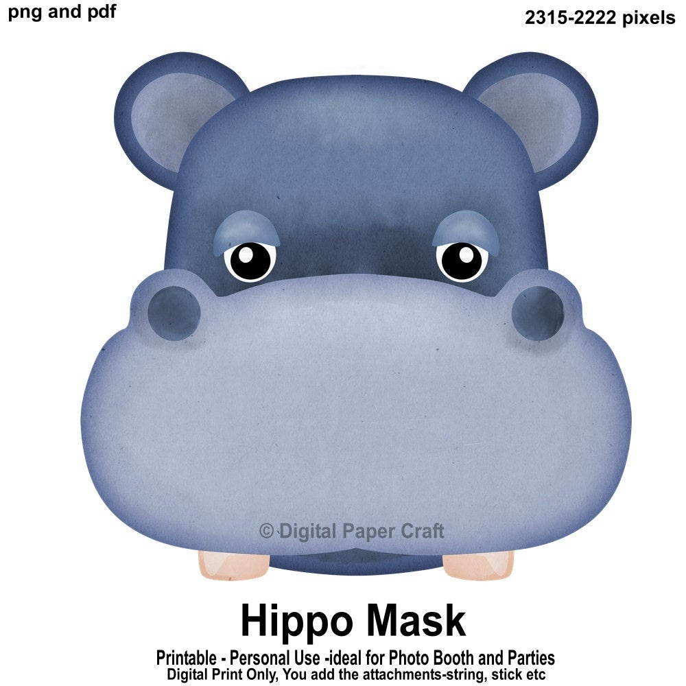 Hippopotamus Mask Hippo Mask Printable Mask Instant | Etsy - Free Printable Hippo Mask