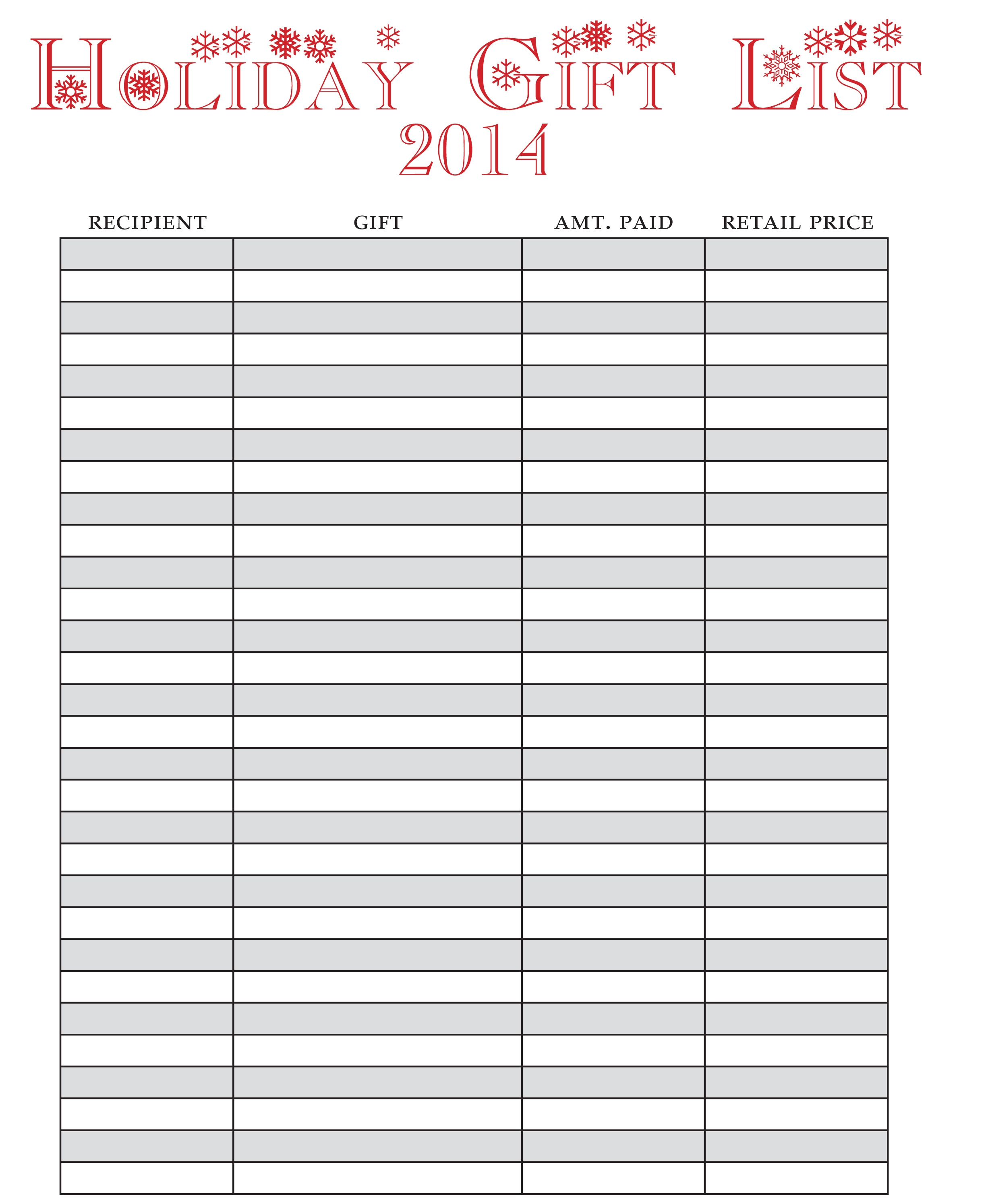 Holiday Gift List- Free Printable! » One Beautiful Home - Free Printable Gift List