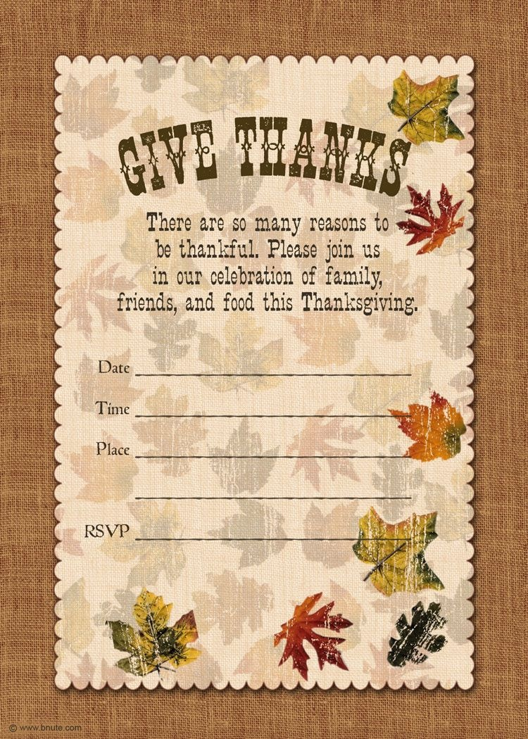 Holiday Party: Free Printable Autumn Free Printable Give Thanks - Free Printable Thanksgiving Dinner Invitation Templates