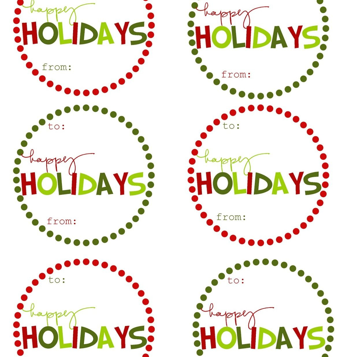 Holiday Tags - Tutlin.psstech.co - Free Printable Holiday Labels