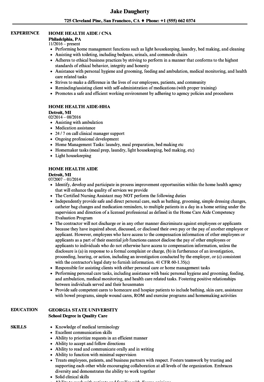 Home Health Aide Resume Samples | Velvet Jobs - Free Printable Inservices For Home Health Aides