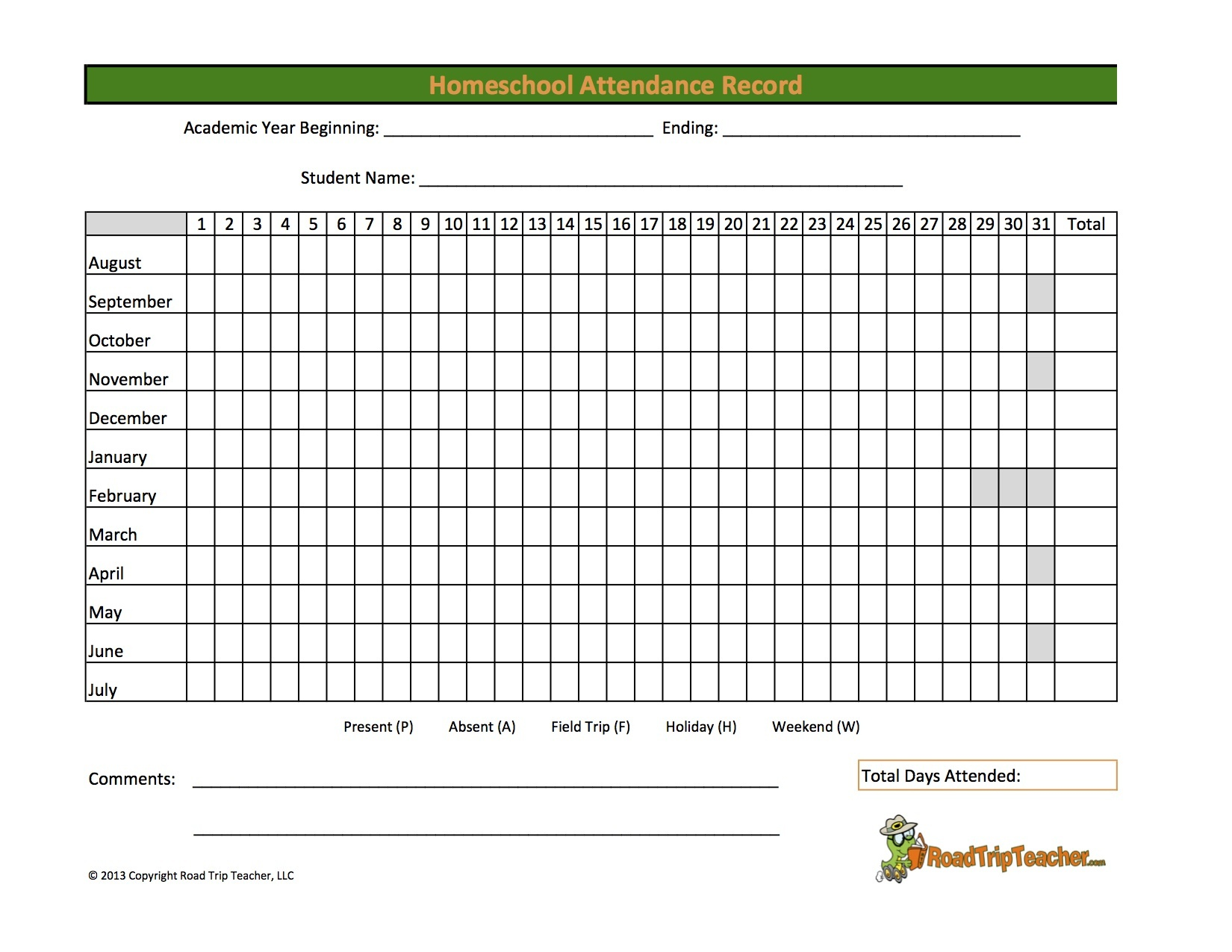 Homeschool Attendance Record - Family Educational Resources | Road - Free Printable Attendance Sheets For Homeschool