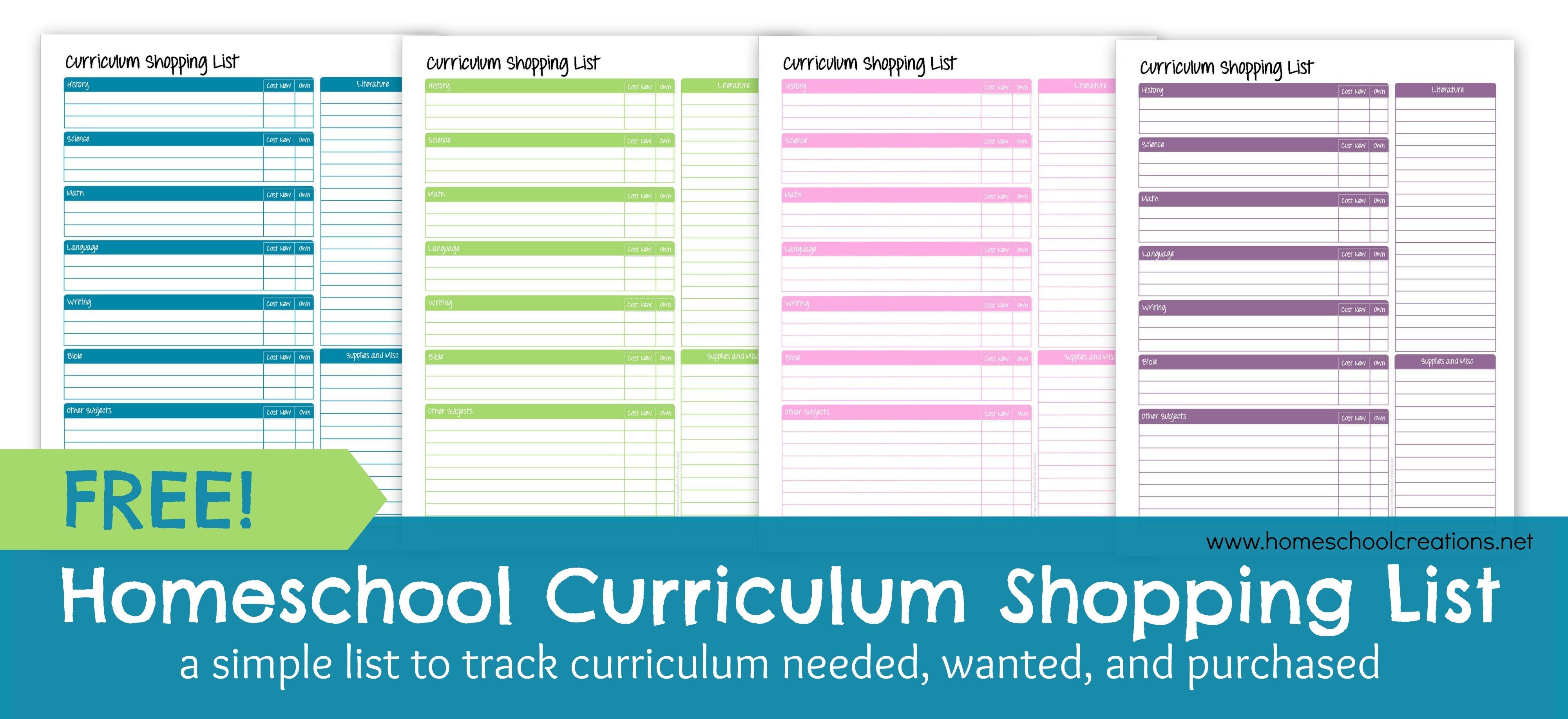 Homeschool Curriculum Shopping List: Free Printable - Free Printable Homeschool Curriculum