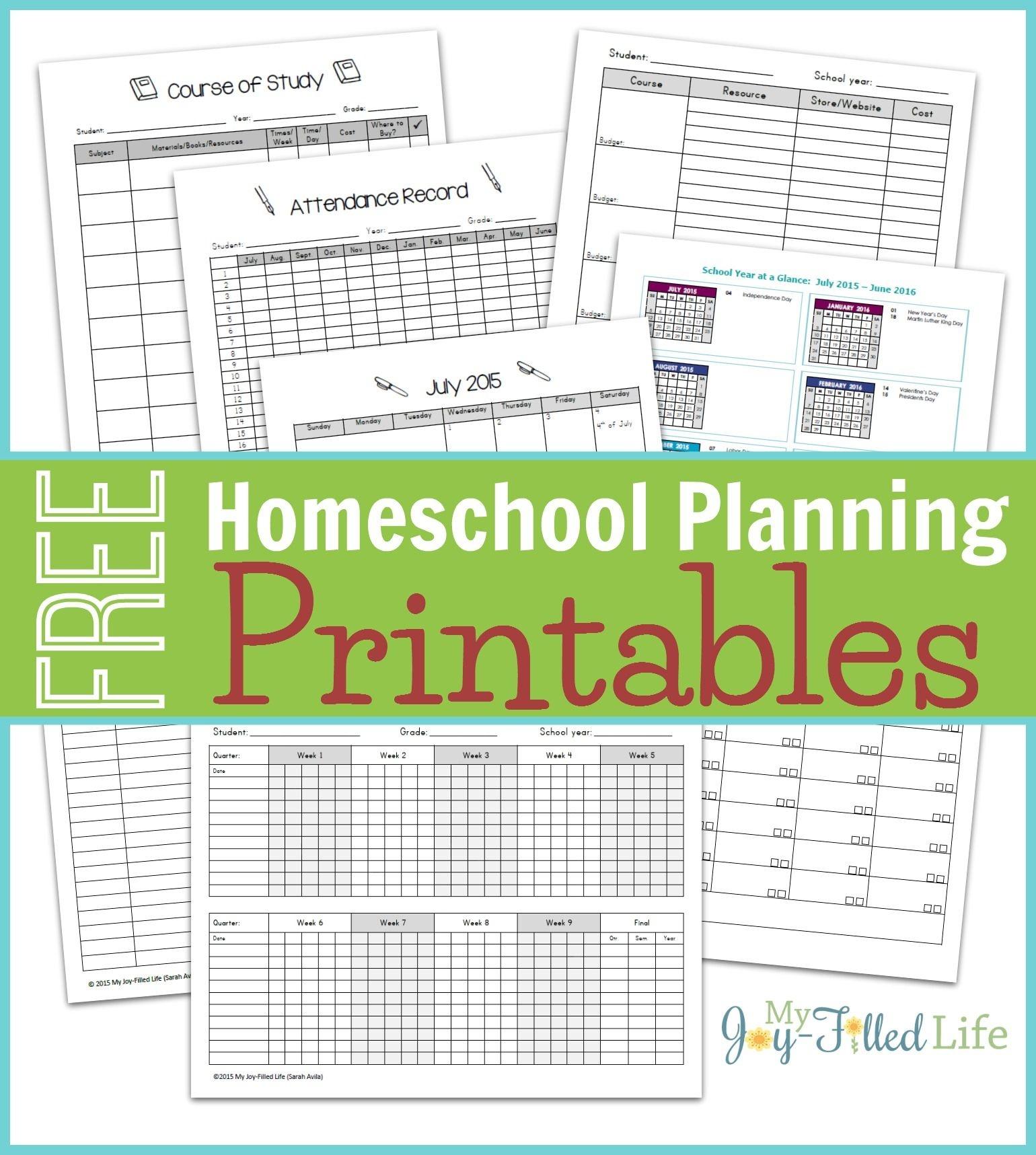 Homeschool Planning Resources & Free Printable Planning Pages - Free Printable Homeschool Curriculum