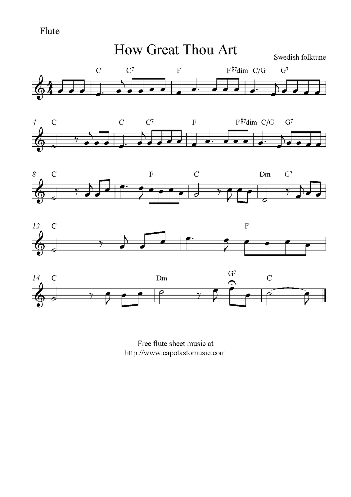 How Great Thou Art, Free Christian Flute Sheet Music Notes - Free Printable Flute Music