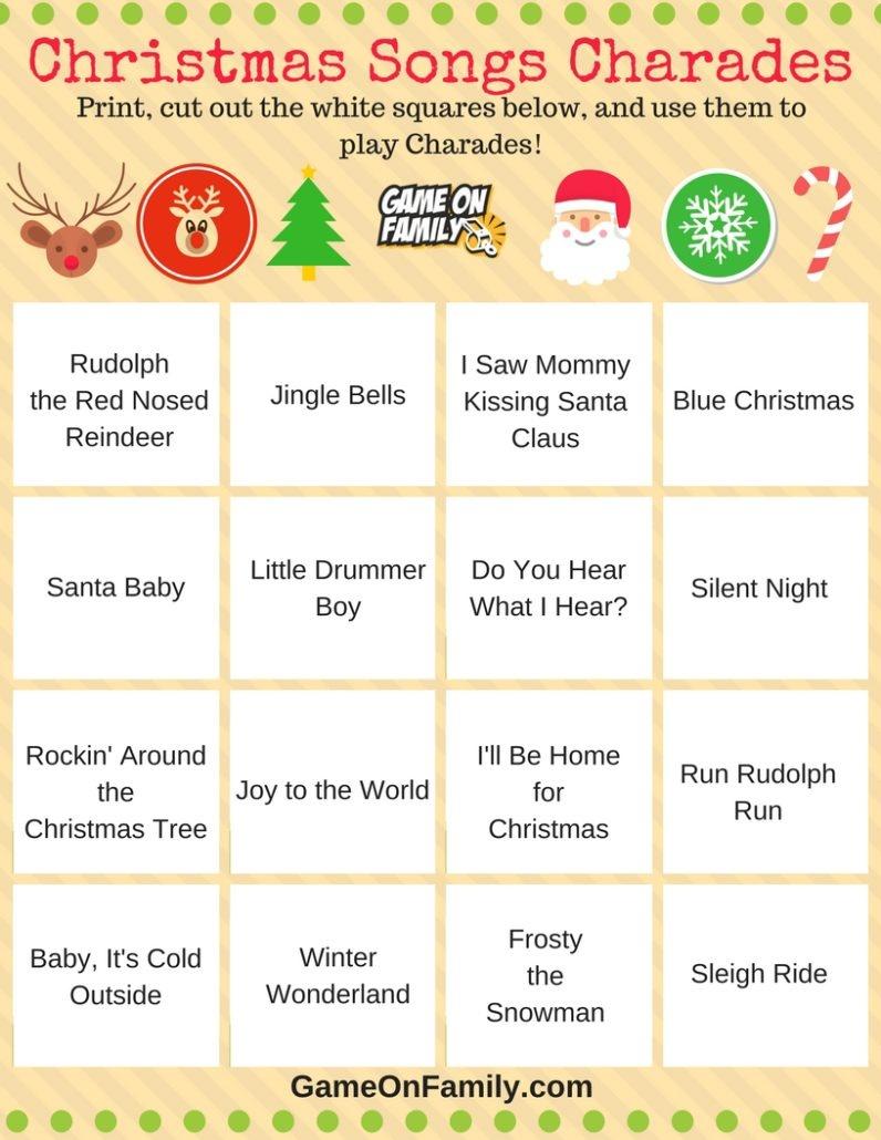 How To Play Christmas Charades: Free Printable Games! | Game On Family - Free Printable Charades Cards