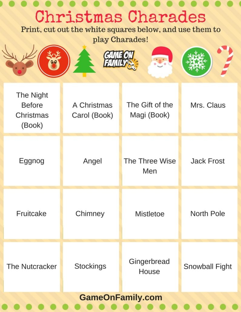 How To Play Christmas Charades: Free Printable Games!   Game On Family - Free Printable Christmas Word Games For Adults