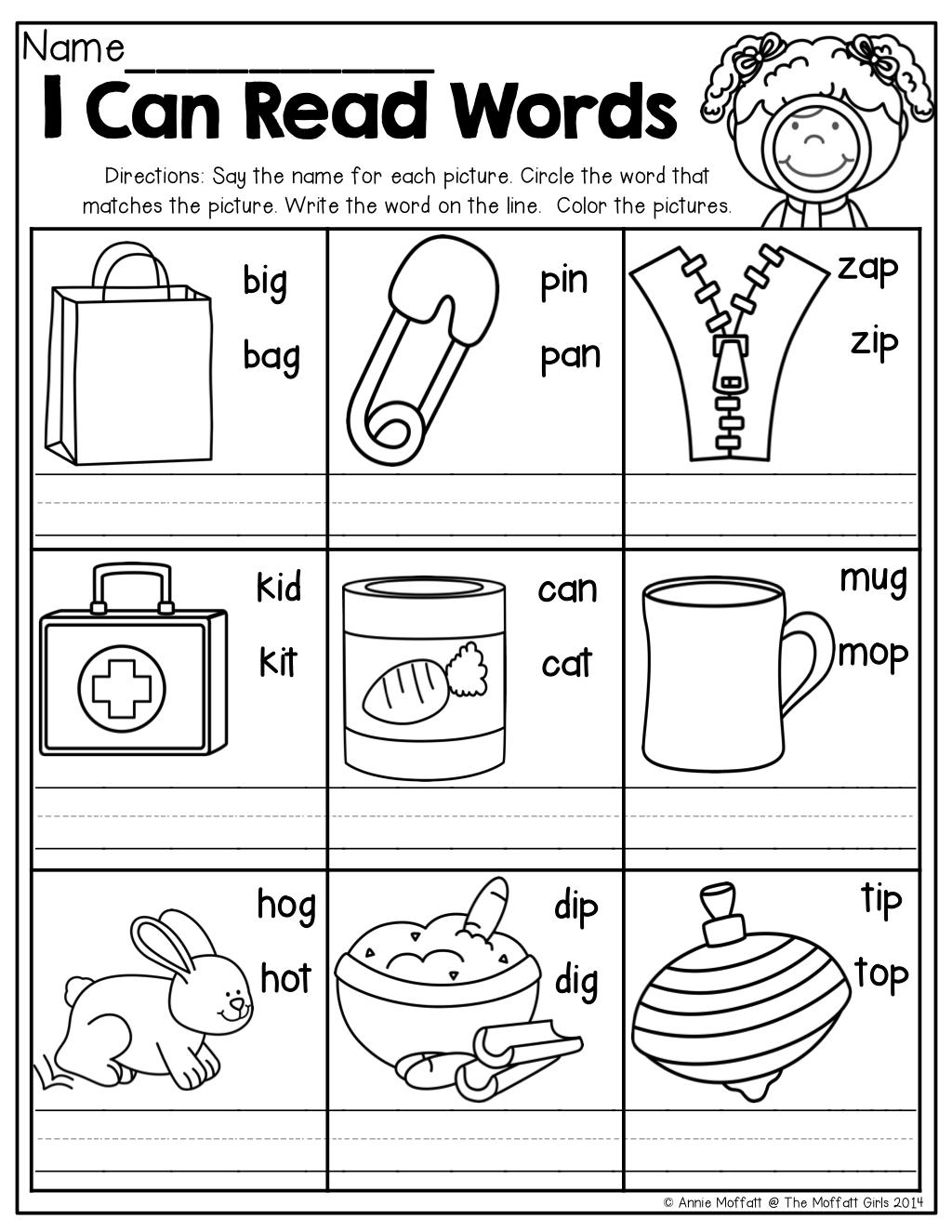 I Can Read Words!   Teaching   Cvc Worksheets, Kindergarten Reading - Free Printable Cvc Worksheets
