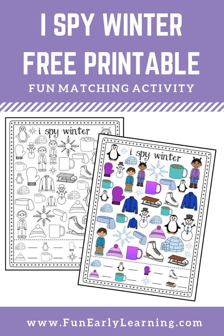 I Spy Winter Free Printable For Matching And Counting | Fun Early - Free Printable Early Childhood Activities