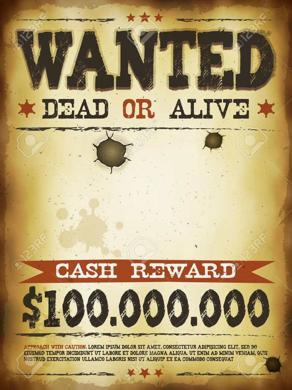 Illustration Of A Vintage Old Wanted Placard Poster Template - Free Printable Wanted Poster Old West