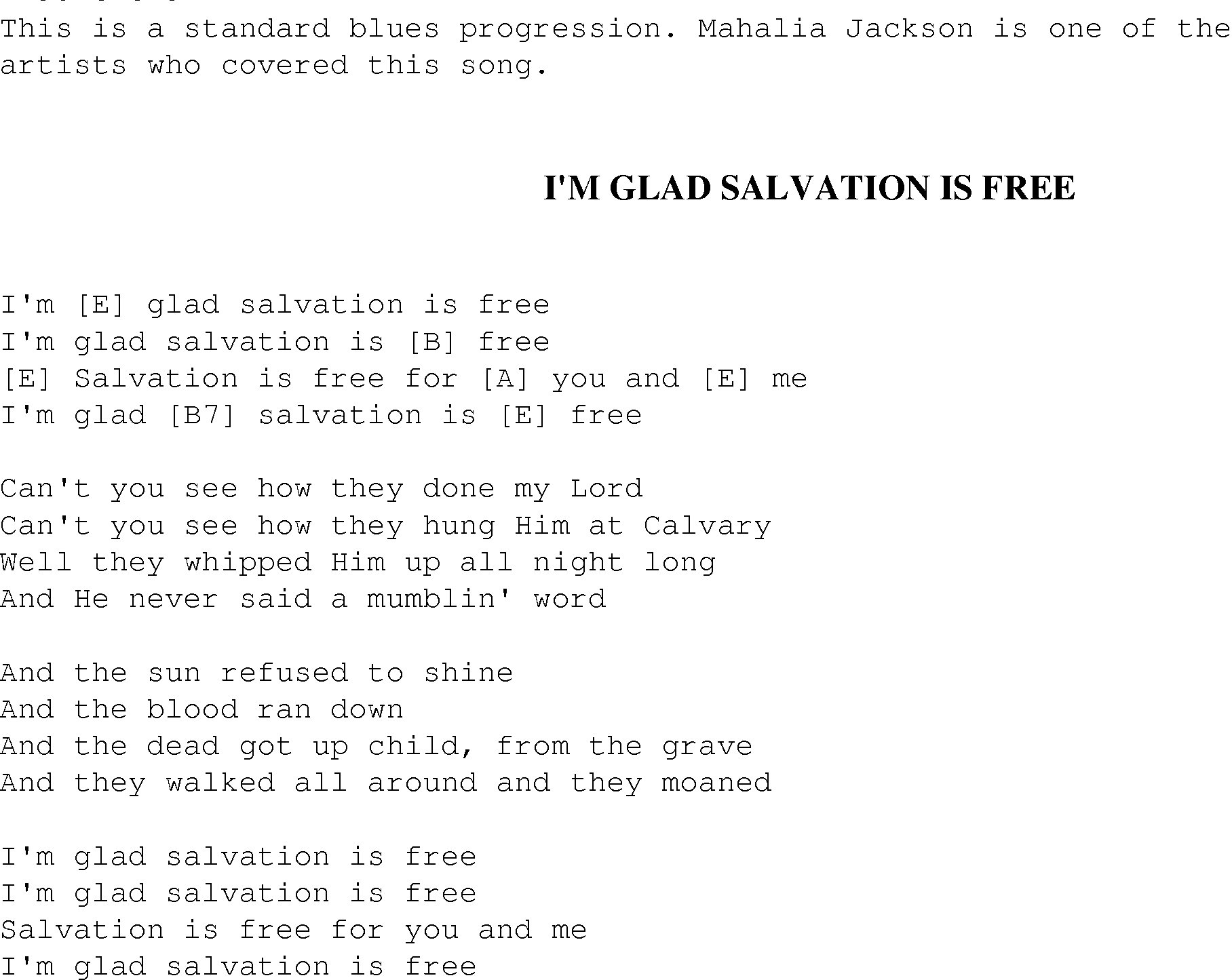 I'm Glad Salvation Is Free - Christian Gospel Song Lyrics And Chords - Free Printable Lyrics To Christian Songs
