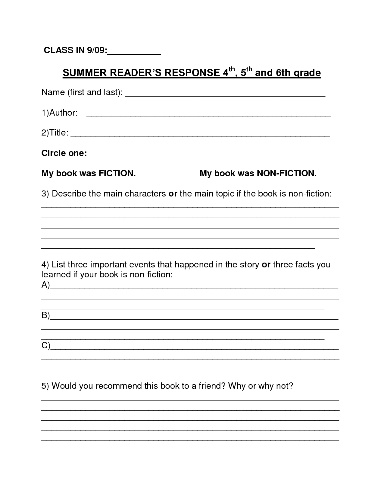 Image Result For Book Report Summer Reading Form 6Th Grade | Middle - Free Printable Book Report Forms For Second Grade