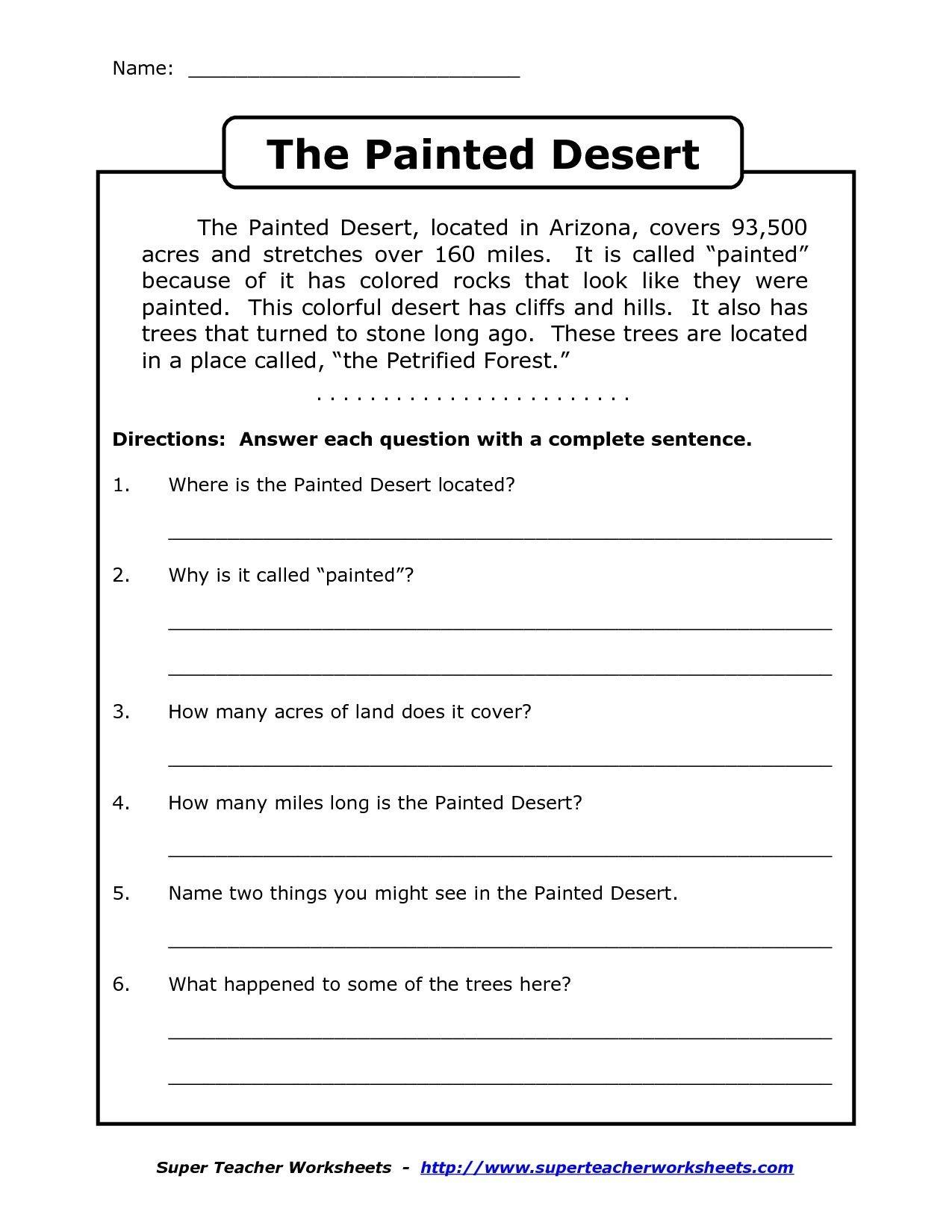 Image Result For Free Printable Worksheets For Grade 4 Comprehension - Third Grade Reading Worksheets Free Printable