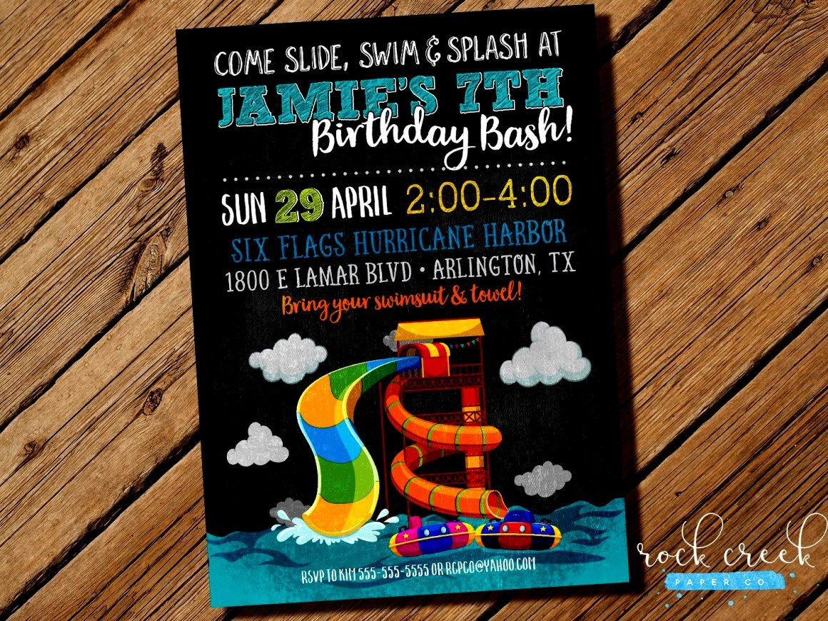 Images Water Park Birthday Invitations Party Invitation For Sale - Free Printable Water Park Birthday Invitations