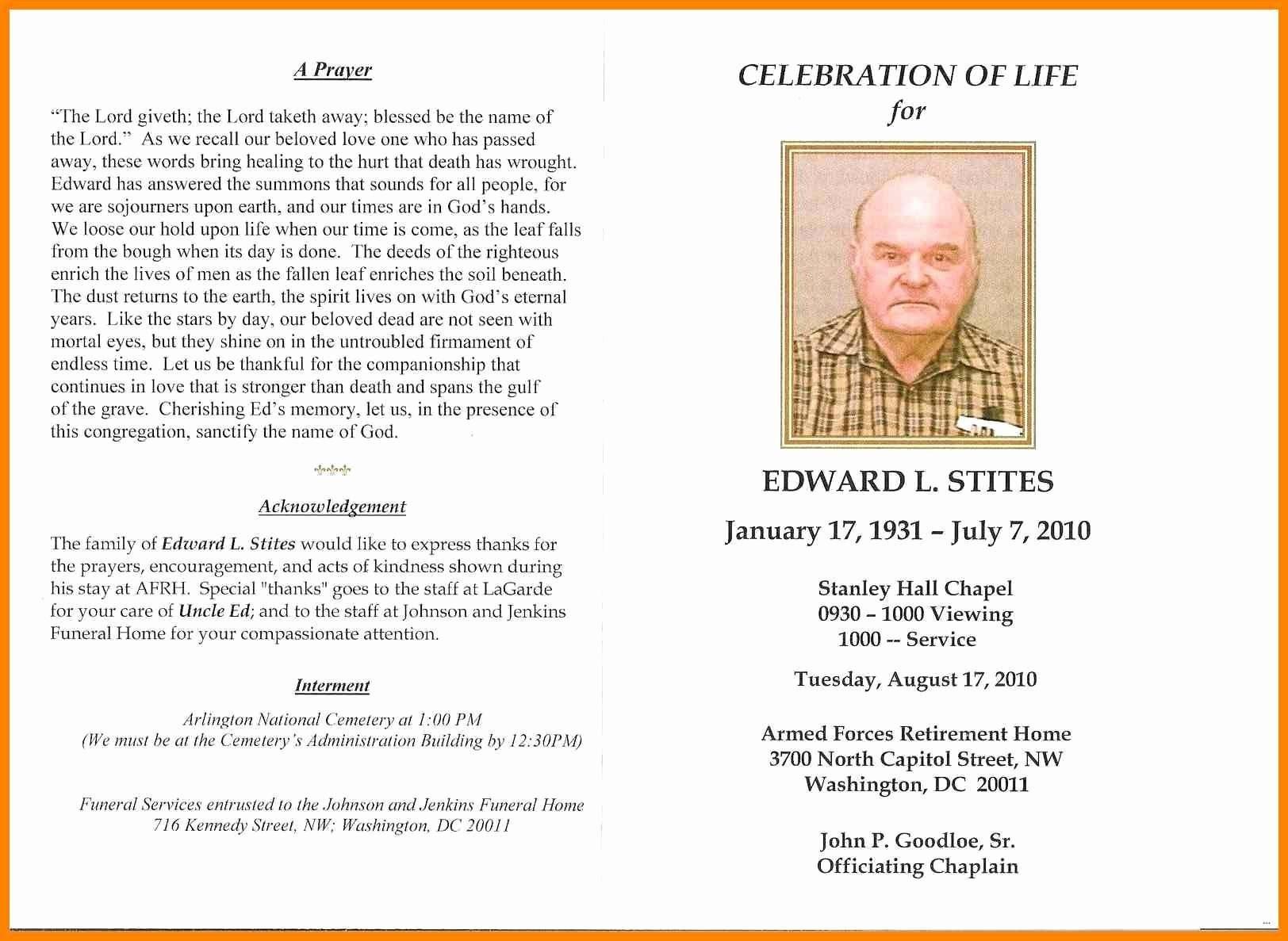 In Memoriam Cards Template Free Celebration Of Life Program - Free Printable Memorial Card Template
