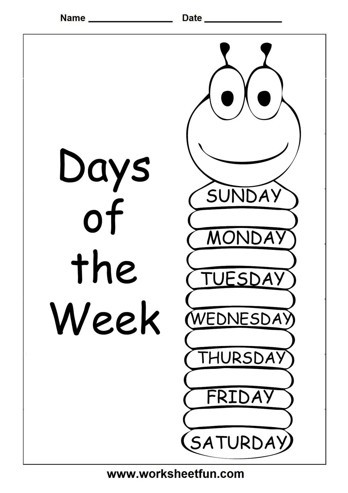 Insects Worksheets Free | Days Of The Week - Trace And Write - Free Printable Worm Worksheets