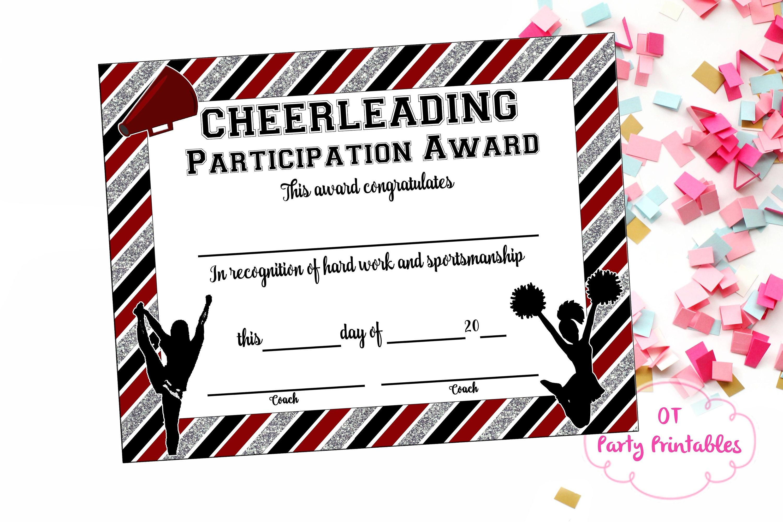 Instant Download Cheerleading Certificate Cheerleading   Etsy - Free Printable Cheerleading Certificates