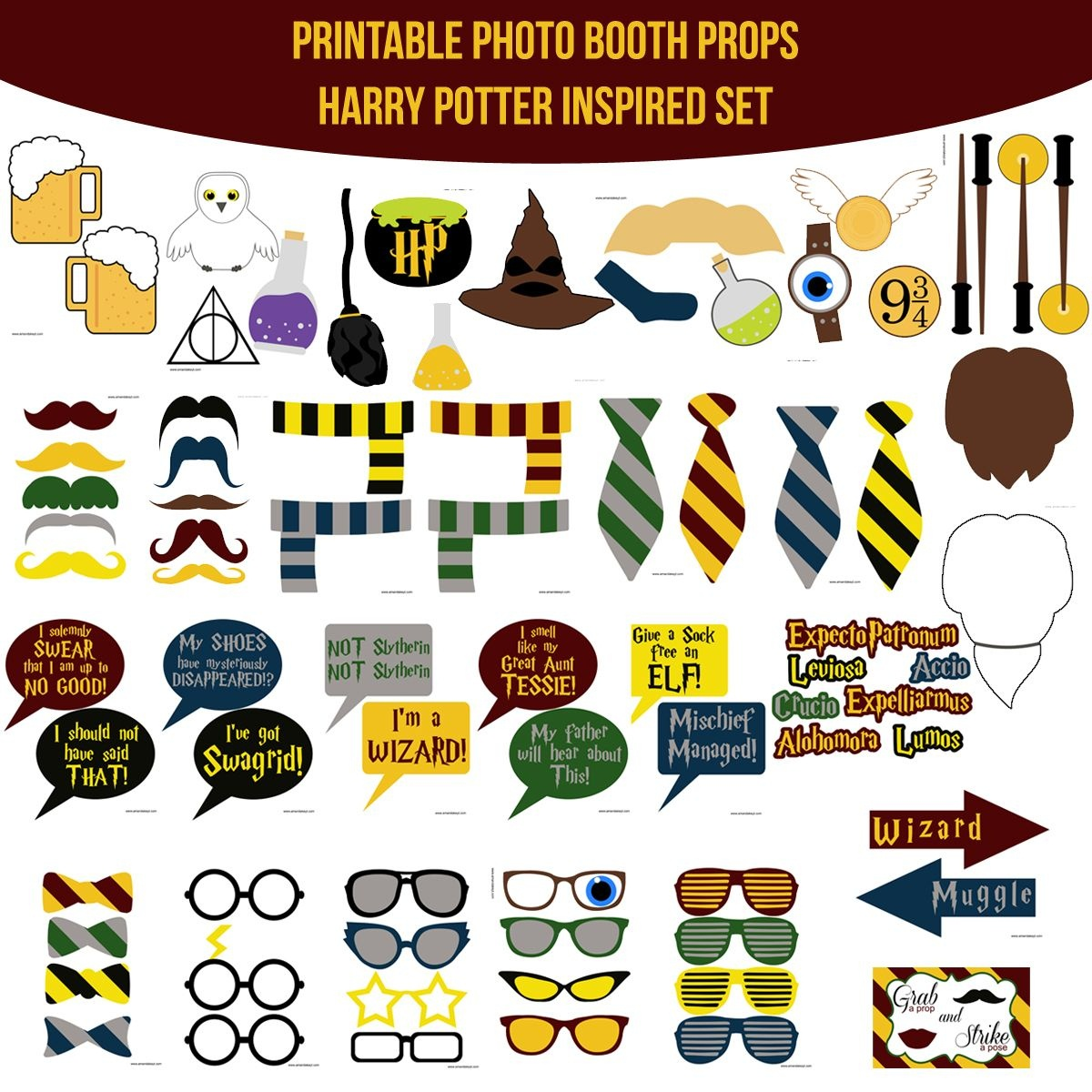 Instant Download Harry Potter Inspired Printable Photo Booth Prop - Free Printable 70's Photo Booth Props