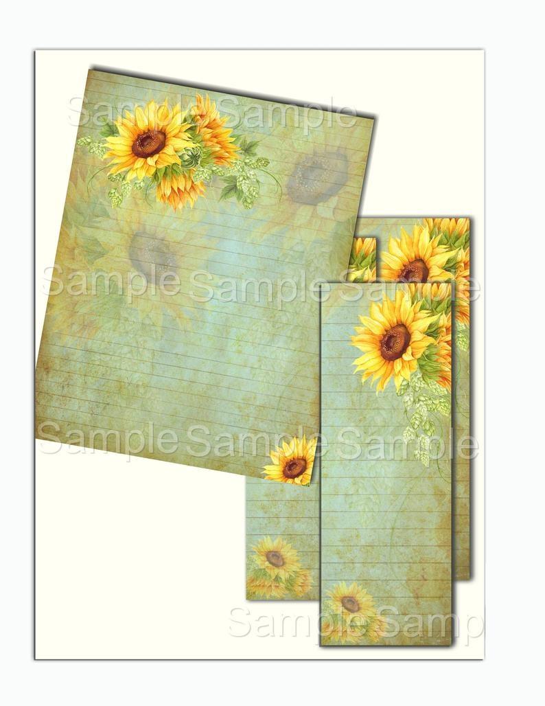 Instant Download Sunflower Printable Set Digital Download | Etsy - Free Printable Sunflower Stationery