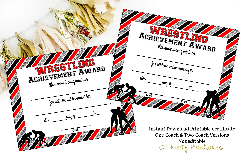 Instant Download Wrestling Award Wrestling Certificate | Etsy - Free Printable Wrestling Certificates