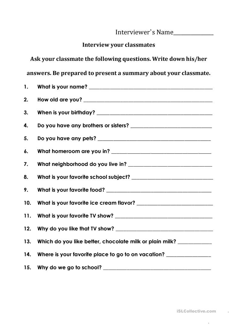Interviewing Your Classmates Worksheet - Free Esl Printable - Free - Free Printable Worksheets For Highschool Students